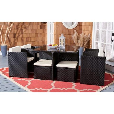SAFAVIEH Outdoor Living Klena 9-Piece Rattan Patio Dining Set