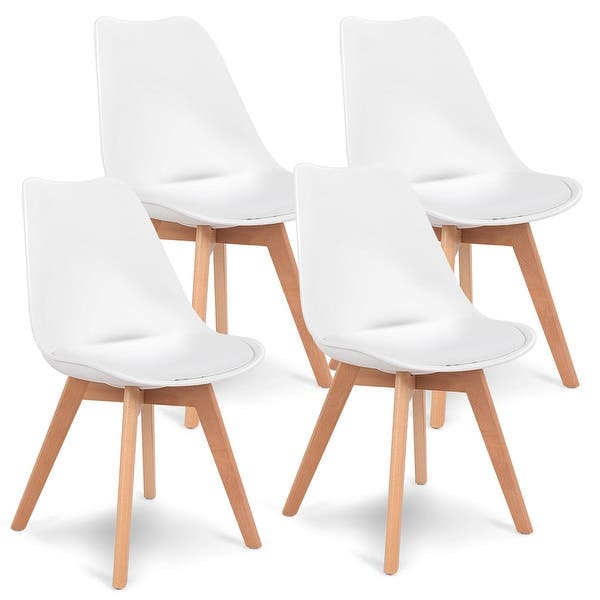 Gymax Set Of 4 Mid Century Dining Chairs Modern Dsw Armless Side Chair On Sale Overstock 22804850
