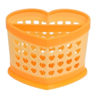 Heart Shaped Hole Design 3 Compartments Chopsticks Case Organizer Orange