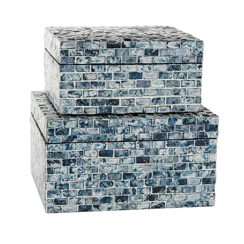"Small Square Blue Shell Mosaic Wood Boxes Set of 2 9""x9"" 10""x10"" - 10 x 10 x 5"