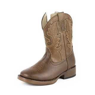 Roper Western Boots Boys Square Toe Stitch Brown