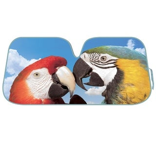 KM WORLD Licensed 2 MACAWS Auto Shade Cool Trending Large Birds Pet Designs Sunshade with Reversible Silver Backing
