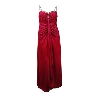 Onyx Nite Women's Embellished Neckline Mesh Ruffle Gown - Burgundy