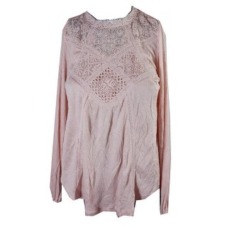 American Rag Peach Lace-Inset High-Low Peasant Top S