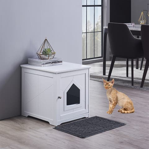 Unipaws Cat Litter Box Enclosure with Mat, Privacy Cat Washroom