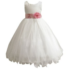 Wedding Easter Flower Girl Dress Paperio Ivory Rattail Satin Tulle (Baby - 14) Dusty Rose