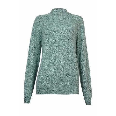 Karen Scott Women's Pearl Embellished Neck Sweater