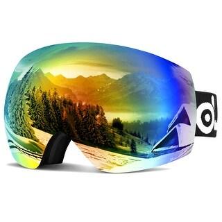 Odoland Large Spherical Frameless Ski Goggles for Men Women S2 OTG Double Lens UV400 Protection Anti-Fogging