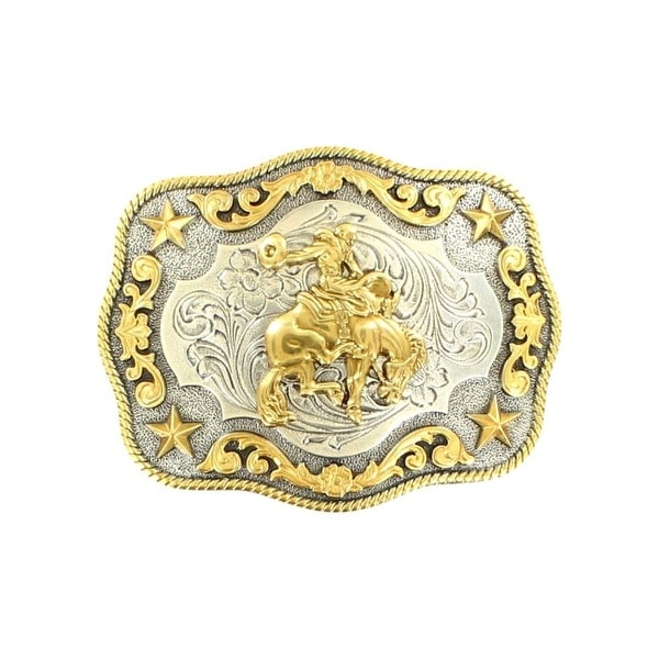 "Nocona Western Belt Buckle Saddle Bronc Stars Rope Silver Gold - 3 3/4"" x 3"""