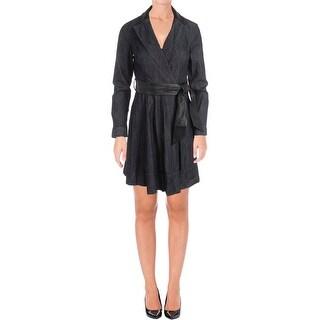 Lauren Ralph Lauren Womens Petites Jacket Dress Denim Wrap