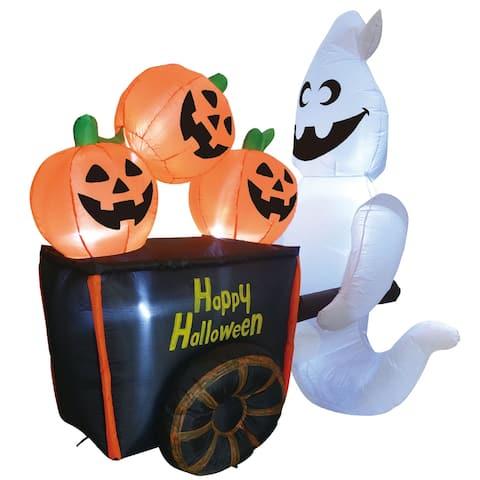 "Joiedomi 6 ft. Tall Black, White & Orange Plastic Halloween Ghost Pushing Pumpkin Cart Inflatable - 7""W x 4""L x 9""H"