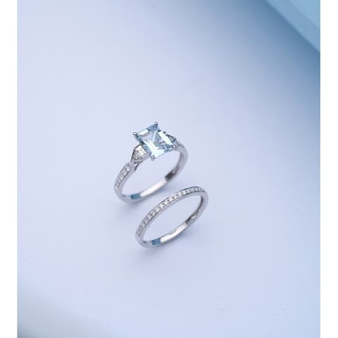 14K White Gold Aquamarine & Diamond Bridal Set Ring by Anika and August