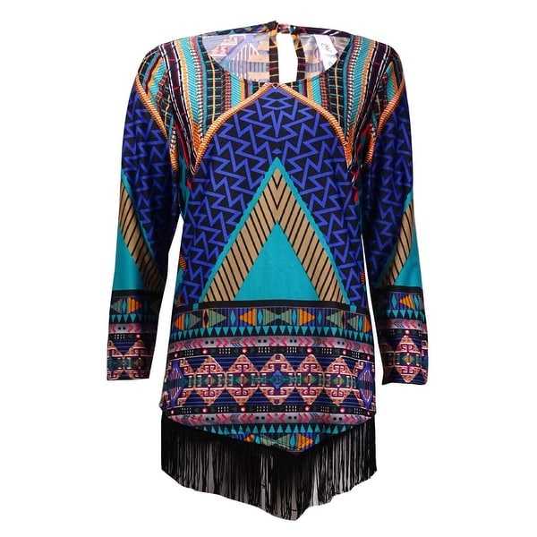 NY Collection Women's Fringed Tribal Print Jersey Top - Multi