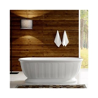 "Miseno MT5931FSO 59"" Freestanding Acrylic Soaking Tub with Center Drain, Drain Assembly, and Overflow - White - N/A"