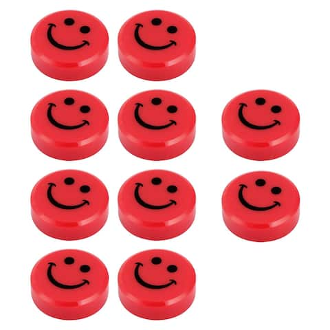 School Blackboard Plastic Smile Cover Round Shaped Magnetic Stickers Red 10pcs