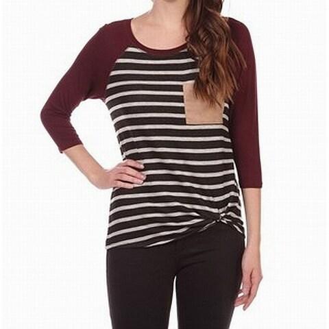 Moa Moa Womens Medium Twist-Detail Striped Knit Top