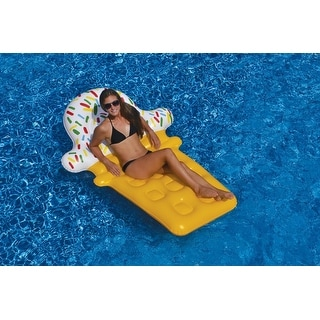 """74"""" Novelty Yellow and White Ice Cream Cone Inflatable Swimming Pool Floating Lounge Raft"""