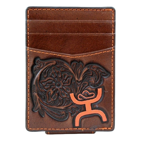 HOOey Western Wallet Mens Floral Signature Money Clip Brown - 2 3/4 x 1/8 x 4