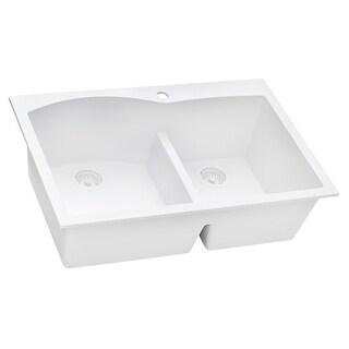 Ruvati 33 X 22 Inch Epigranite Drop In Topmount Granite Composite Double Bowl Kitchen Sink White Rvg1345wh 8 X 11 Overstock 32334472