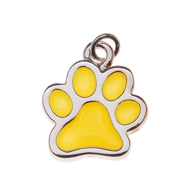 Silver Plated Translucent Yellow Enamel Paw Print Charm 16mm (1)