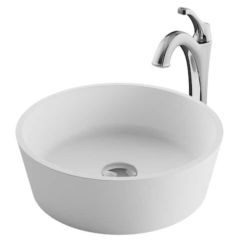 "Kraus C-KSV-1MW-1200 Natura 15"" Ceramic Vessel Bathroom Sink with 1.2"