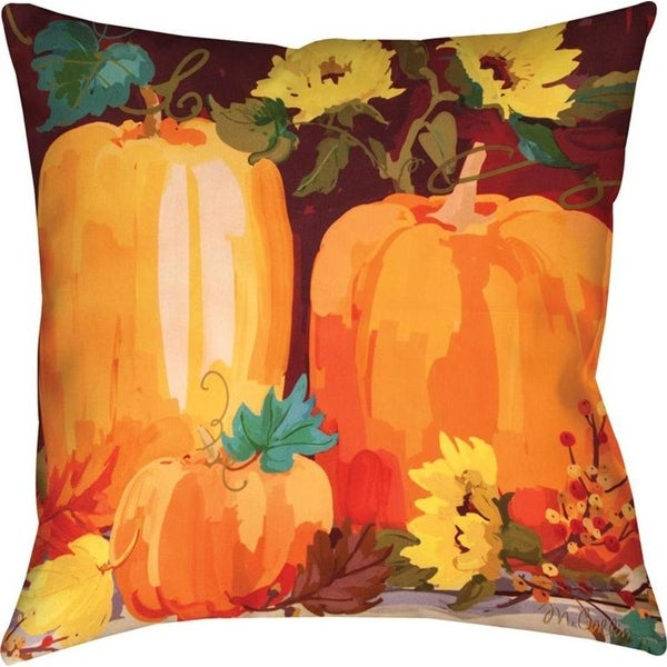Set of 2 Vibrant Colors Pumpkins & Sunflowers Themed Decorative Throw Pillow 18""