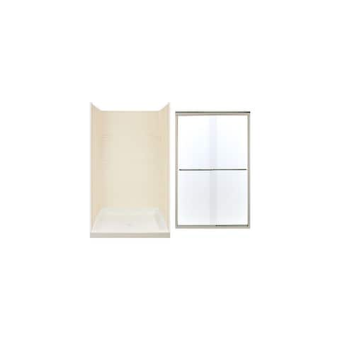 """Transolid 48-in x 72-in Alcove Shower Wall, Base, and Door Kit - 48"""" x 34"""" x 72"""""""