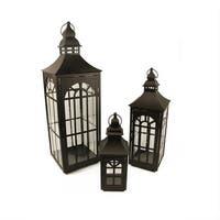 "Set of 3 Black Asian Inspired Pillar Candle Holder Lanterns 26"""