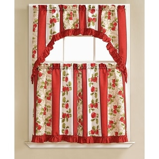 Taylor Embroidered 3-Piece Kitchen Curtain Swag & Tiers Set, Red, 60x56 & 30x36 Inches - N/A