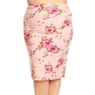 Women Plus Size Trendy Floral Pattern Pencil Skirt Light Pink