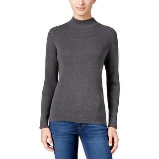 Karen Scott Womens Mock Turtleneck Sweater Ribbed Knit Heathered