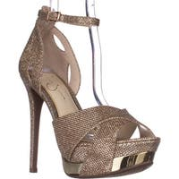 Jessica Simpson Wendah Platform Ankle Strap Pumps, Gold
