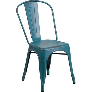 Brimmes Distressed Blue-Teal Metal Stackable Chair for Patio/Bar/Restaurant