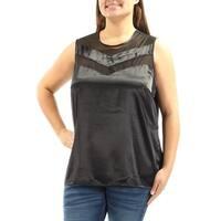 Womens Black Sleeveless Jewel Neck Casual Top  Size  XL