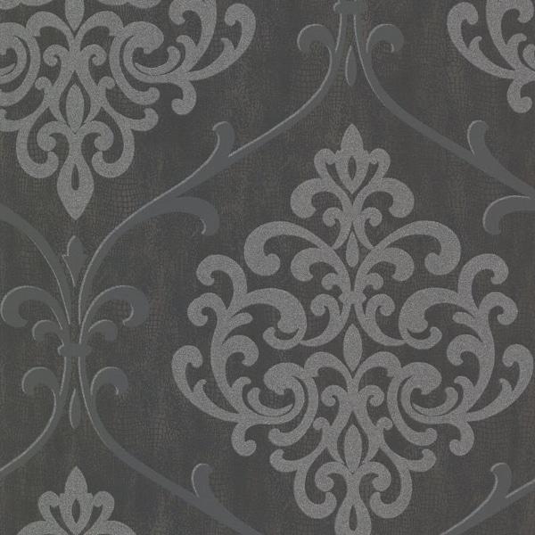 Brewster 2542-20718 Ambrosia Charcoal Glitter Damask Wallpaper - N/A