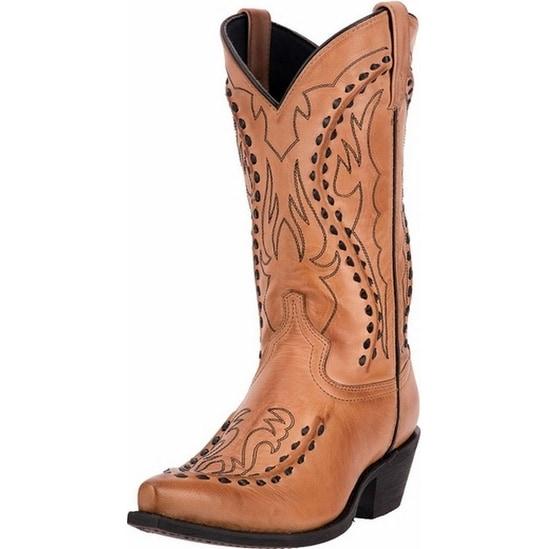 "Laredo Western Boots Mens 12"" Bucklace Snip Toe Ant Tan"