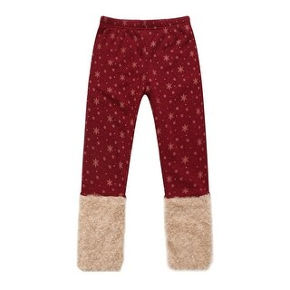 Richie House Little Girls Red Gold Snowflakes Fluffy Cuffs Pants 2