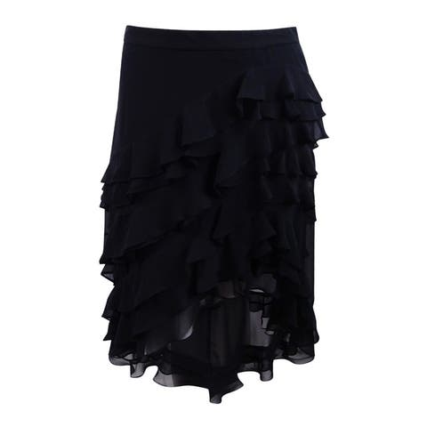 MSK Women's Ruffled High-Low A-Line Skirt (L, Black) - Black - L