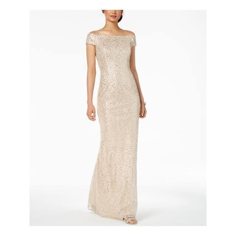 ADRIANNA PAPELL Beige Short Sleeve Maxi Dress 8