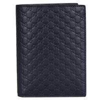 "Gucci Men's 496948 Blue Leather Micro GG Passport Holder Bifold Wallet - 5.75"" x 4.25"""