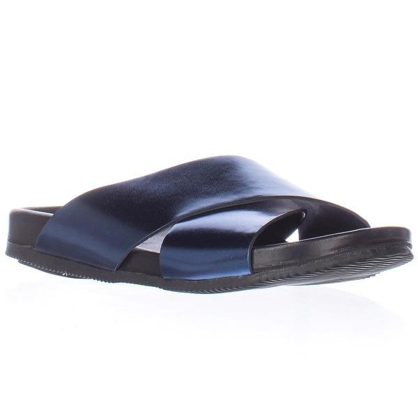 Emozioni Cross Strap Slide Sandals, Electric Blue - 6 us / 36 eu