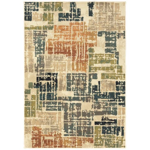 Carson Carrington Igelosa Distressed Patchwork Orange/Grey Area Rug