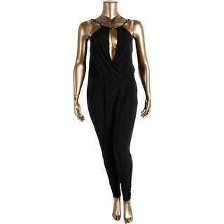 Guess Womens Ruched Surplice Jumpsuit - XL