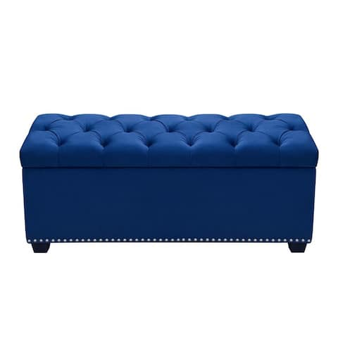 Velvet Upholstered Button Tufted Trunk with Lift Top Storage and Nail head Accent Trim, Blue