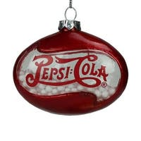 3 in. Red Pepsi Cola Disc Shaped Snow FilledDecorative Glass