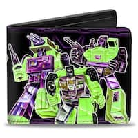 6 Constructions Decepticon Logo Black Purple Fade Bi Fold Wallet - One Size Fits most