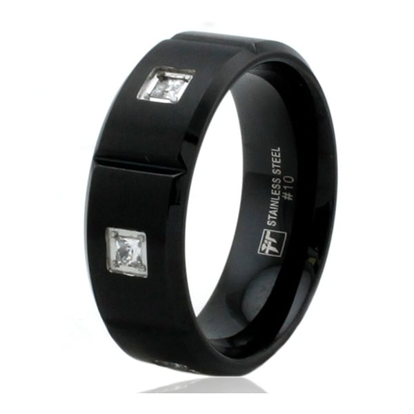 8mm Black Stainless Steel Grooved Ring with Cubic Zirconia
