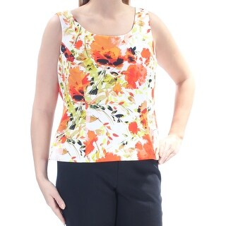 Womens Orange Floral Sleeveless Scoop Neck Wear To Work Top Size 16