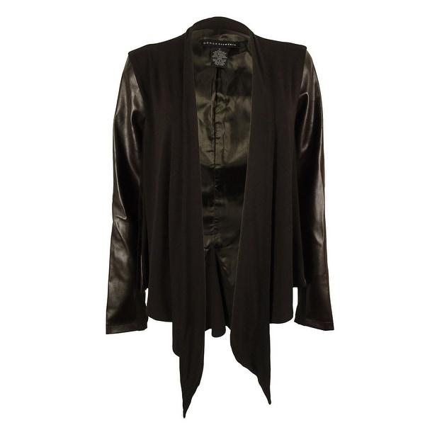 Grace Elements Women's Faux Leather Trim Draped Jacket - rich earth brown