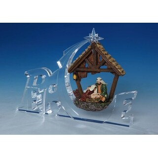 """Set of 2 Clear and Brown Nativity """"Peace"""" Tabletop Decors 7"""""""